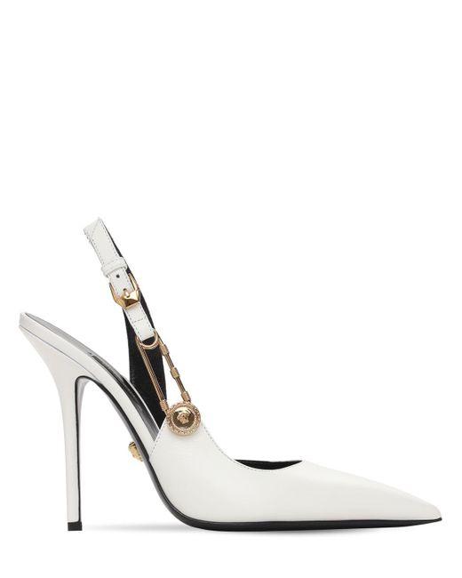 Versace レザースリングバックパンプス 110mm White