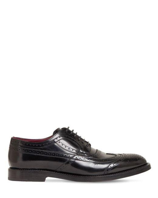 Кожаные Туфли Дерби 30мм Dolce & Gabbana для него, цвет: Black