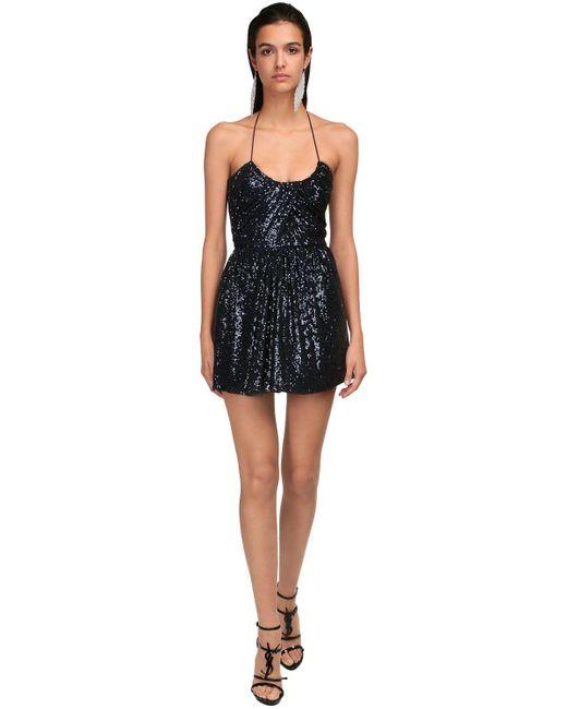 Платье С Пайетками Saint Laurent, цвет: Blue
