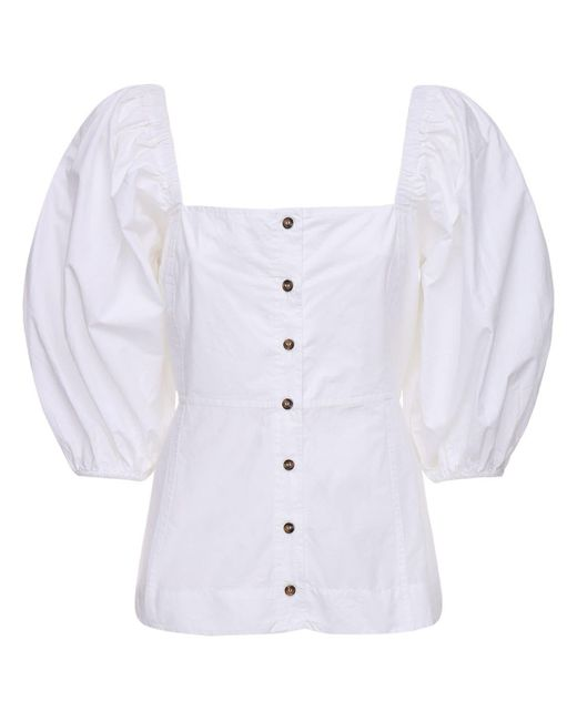 Ganni コットンポプリンコルセットシャツ White