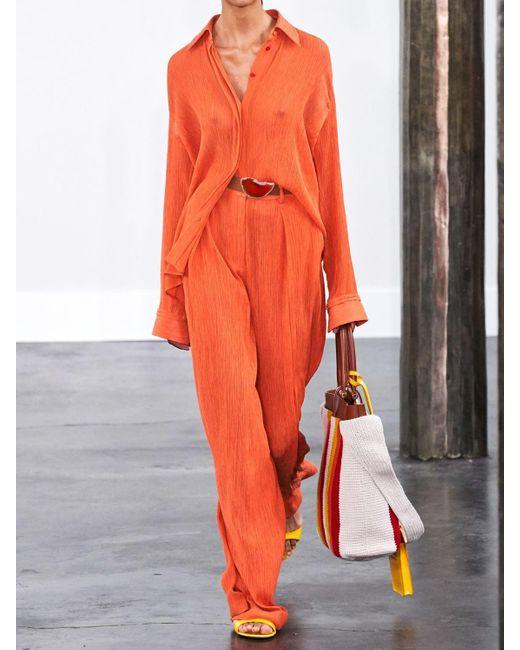 Gabriela Hearst Lvr Sustainable コットンブレンドクレープパンツ Orange