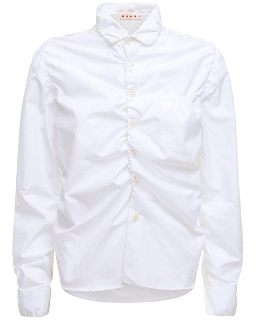 Marni ルーシュドコットンシャツ White