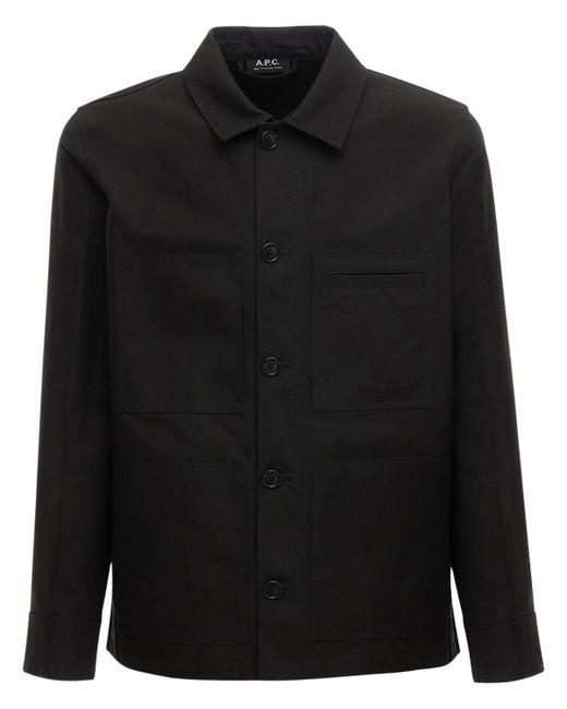 メンズ A.P.C. コットンワークシャツジャケット Black