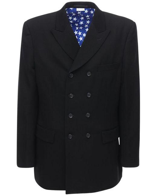 Двубортный Шерстяной Пиджак Comme des Garçons для него, цвет: Black