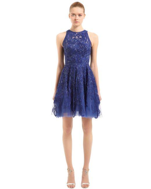 Платье Из Тюля С Бусинами Zuhair Murad, цвет: Blue