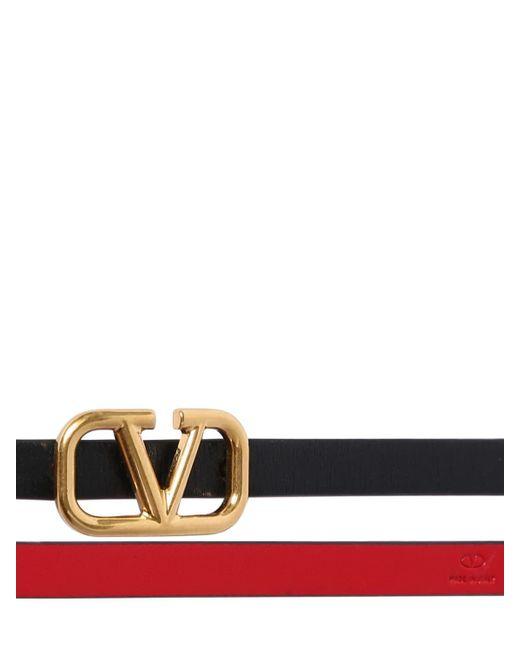 Двусторонний Кожаный Ремень 8mm Valentino Garavani, цвет: Black