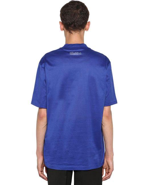 メンズ Lanvin ポリッシュドコットンtシャツ Blue