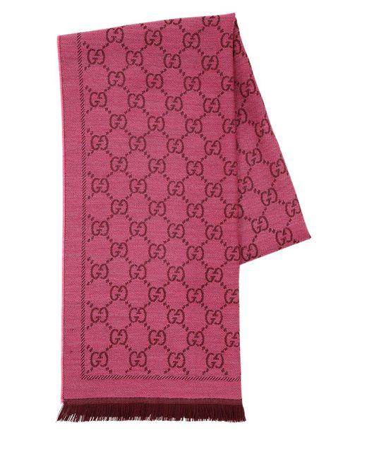 Шарф Из Шерстяного Жаккарда Gucci, цвет: Multicolor