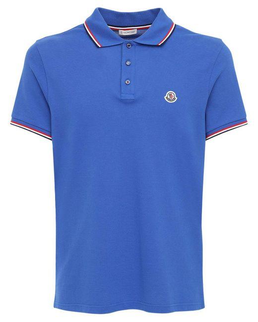メンズ Moncler コットンピケポロシャツ Blue