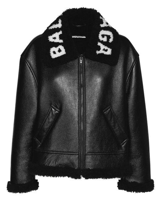 Куртка Из Кожи И Овчины Balenciaga, цвет: Black