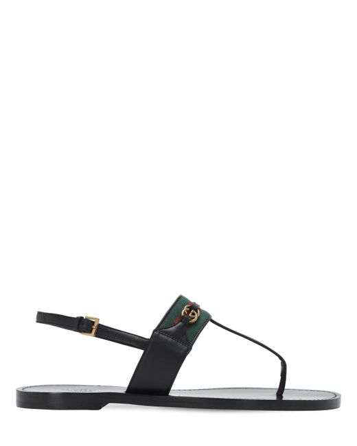 Сандалии С Отделкой Web И Т-образным Ремешком Gucci, цвет: Black