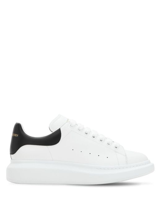 Alexander McQueen White Exaggerated-Sole Leather Sneakers for men