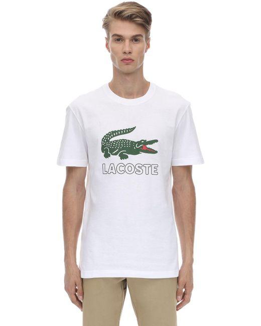 メンズ Lacoste Crocodile コットンジャージーtシャツ White