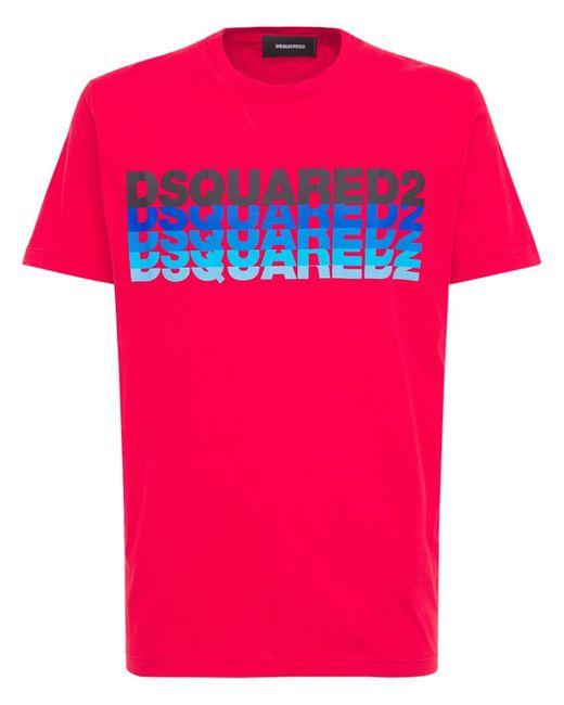 T-shirt In Jersey Con Logo di DSquared² in Red da Uomo