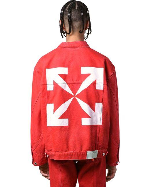 Куртка Из Хлопкового Денима Off-White c/o Virgil Abloh для него, цвет: Red