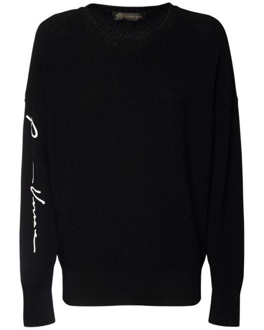 Versace Gvロゴ ウールニットセーター Black