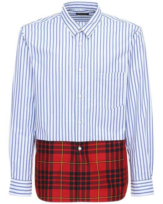 メンズ Comme des Garçons パッチワークコットンシャツ Blue