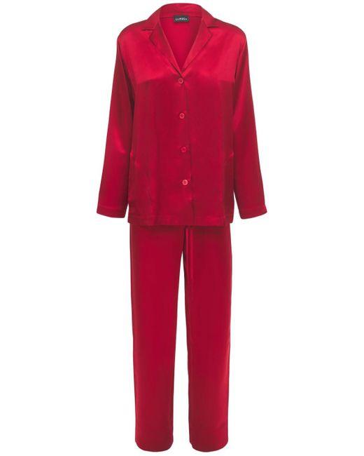 La Perla シルクサテンパジャマシャツ&パンツ Red