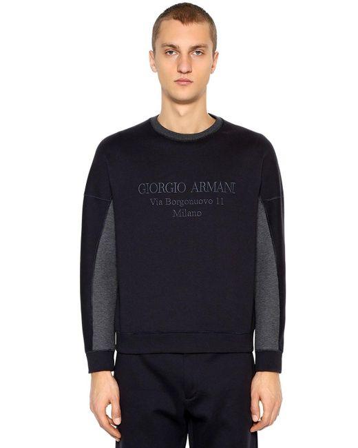 メンズ Giorgio Armani コットンブレンドスウェットシャツ Blue