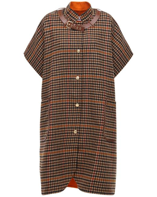 Burberry ウールケープ Brown