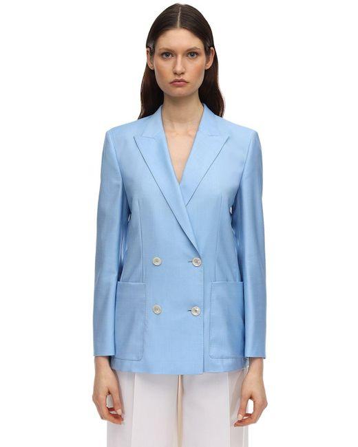 Agnona ダブルブレステッドウールジャケット Blue