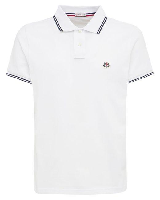 メンズ Moncler コットンピケポロシャツ White