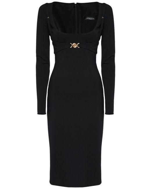 Платье Стретч Из Вискозы Versace, цвет: Black