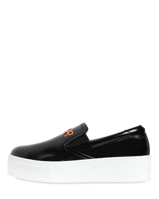 KENZO - Black 40mm K-py Brushed Faux Leather Sneakers - Lyst