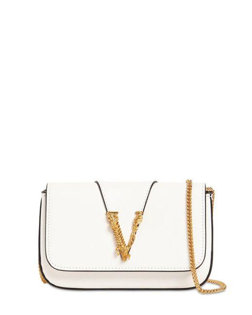 Versace Virtus レザーショルダーバッグ White