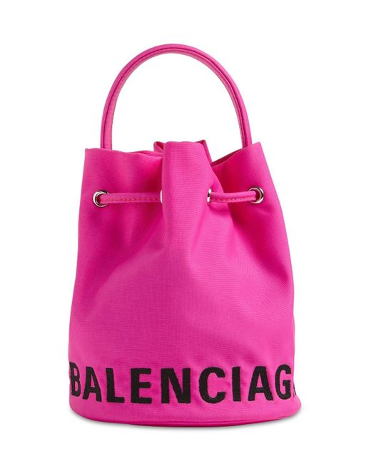 Balenciaga Wheel ナイロンバケットバッグ Pink