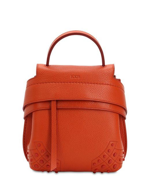 Tod's - Orange Mini Wave Gommino Leather Backpack - Lyst