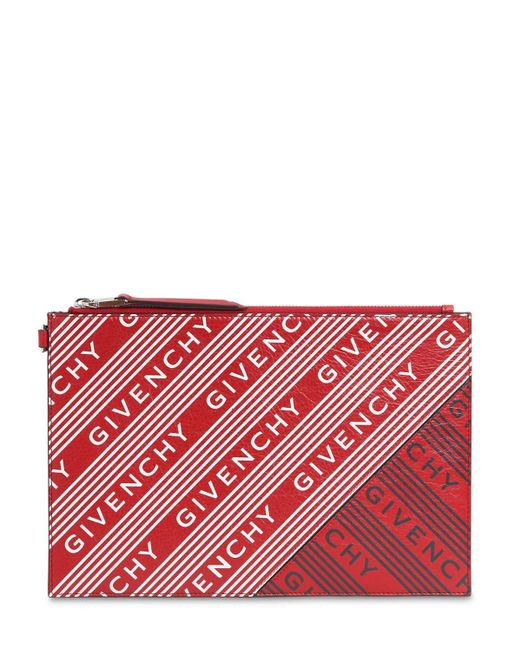 Givenchy ロゴプリントレザーポーチ Red