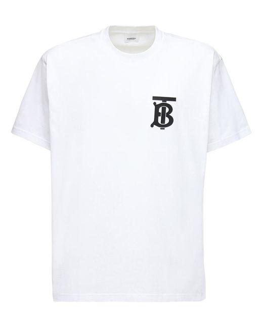 メンズ Burberry エマーソン モノグラム コットンtシャツ White