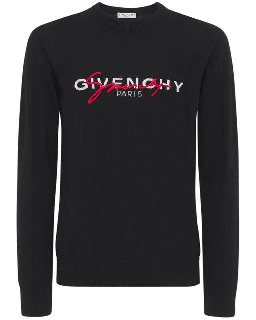メンズ Givenchy インターシャセーター Black