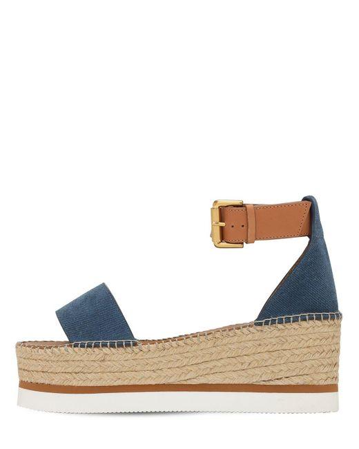 "See By Chloé Blue 80mm Hohe Plateau-sandaletten Aus Leder ""glyn"""