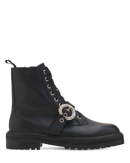Кожаные Ботинки-комбат 30mm Jimmy Choo, цвет: Black