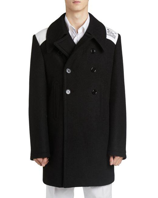 Укороченное Полушерстяное Пальто Raf Simons для него, цвет: Black