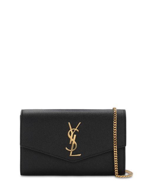 Кожаный Клатч С Цепью Uptown Saint Laurent, цвет: Black