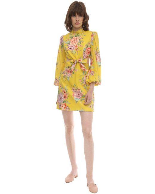 Платье Мини Zinnia С Цветочным Принтом Zimmermann, цвет: Yellow