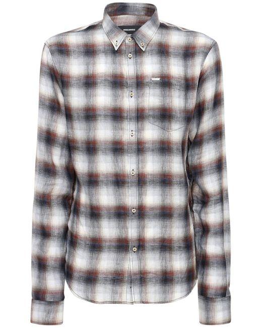 メンズ DSquared² リネンボタンダウンシャツ Black