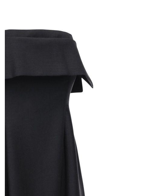 The Row ウール&モヘアロングドレス Black