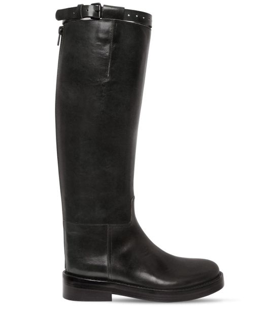 Ann Demeulemeester Black 30mm Brushed Leather Riding Boots