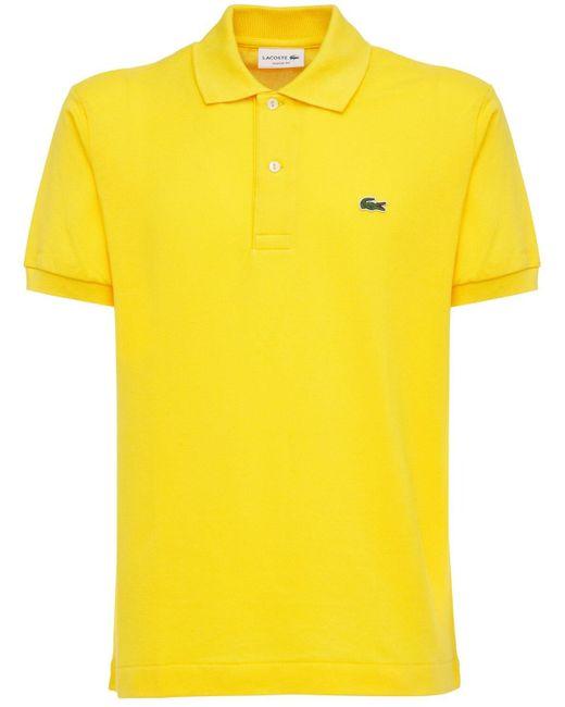 メンズ Lacoste コットンピケポロシャツ Yellow