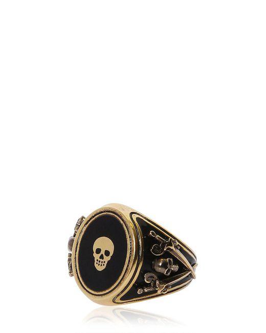 Alexander McQueen - Black Skull Enameled Brass Ring for Men - Lyst
