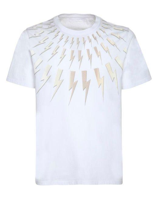 メンズ Neil Barrett コットンジャージー Tシャツ White