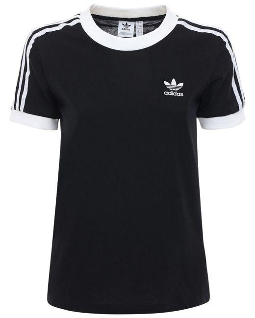 Adidas Originals 3 Stripes コットンtシャツ Black