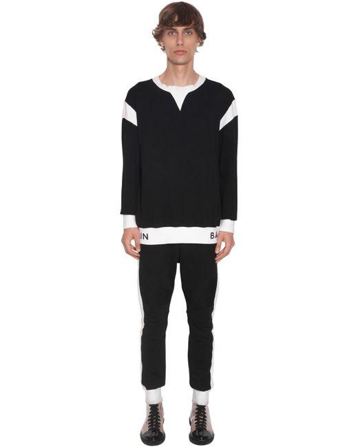 メンズ Balmain コットンジャージースウェットシャツ Black
