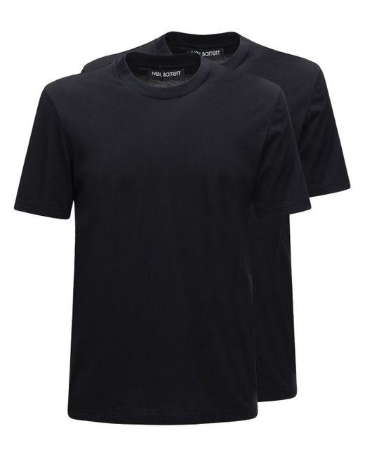 メンズ Neil Barrett ジャージーtシャツ 2枚パック Black