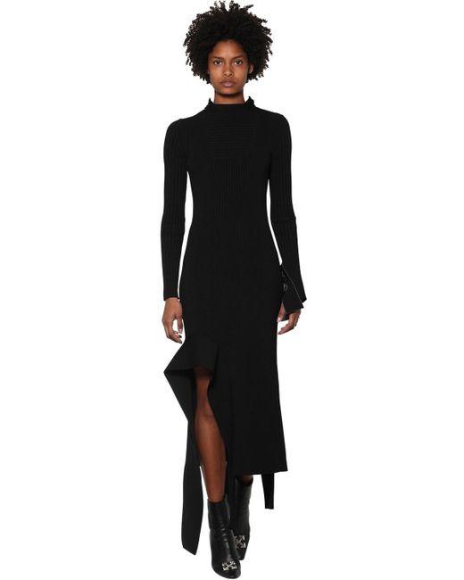 Off-White c/o Virgil Abloh Asymmetric Turtleneck Knitted Dress Black