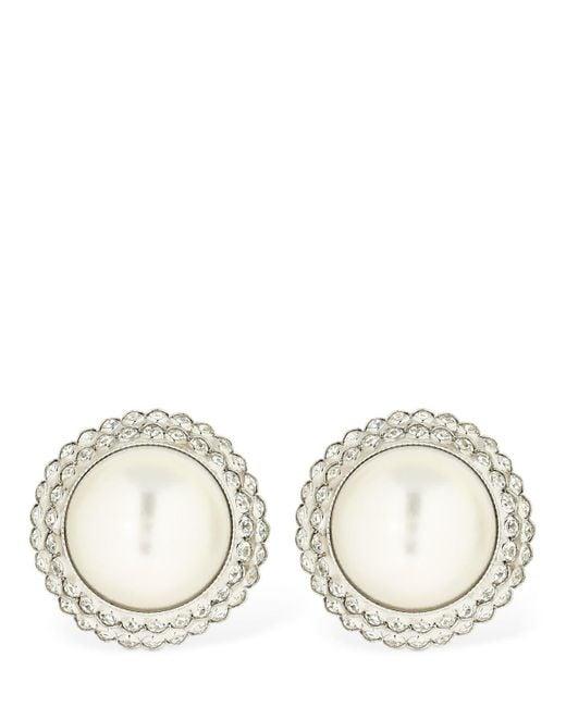 Alessandra Rich White Imitation Pearl & Crystal Earrings